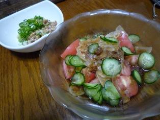 080508 トマトのおかかオニオン和え 納豆