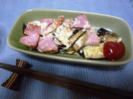 080811 茄子ベーコンのチーズ焼き