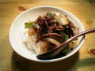 椎茸と豚ばら肉の炒め001