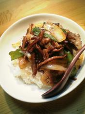椎茸と豚ばら肉の炒め002