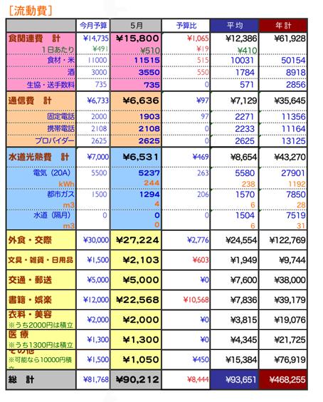 2009年5月家計簿