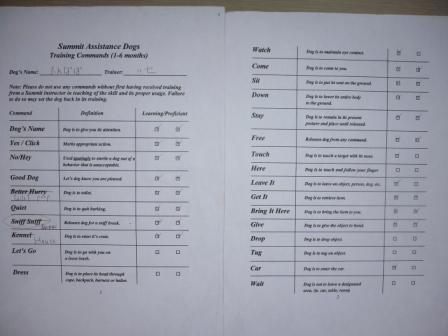コマンドリスト(5ヶ月齢)