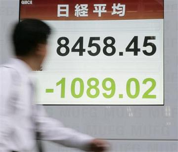 日経平均1000円下落