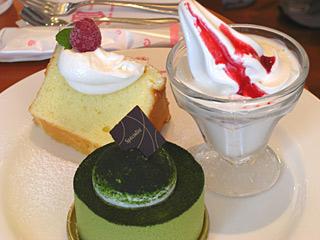 0905 北菓楼 ケーキセット 抹茶豆腐ケーキ