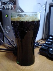 Cokeグラスでコーヒー