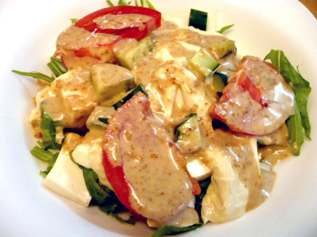 豆腐と湯葉の水菜サラダ