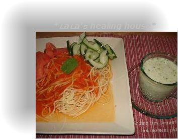 トマトの冷製パスタとブロッコリー冷製スープ