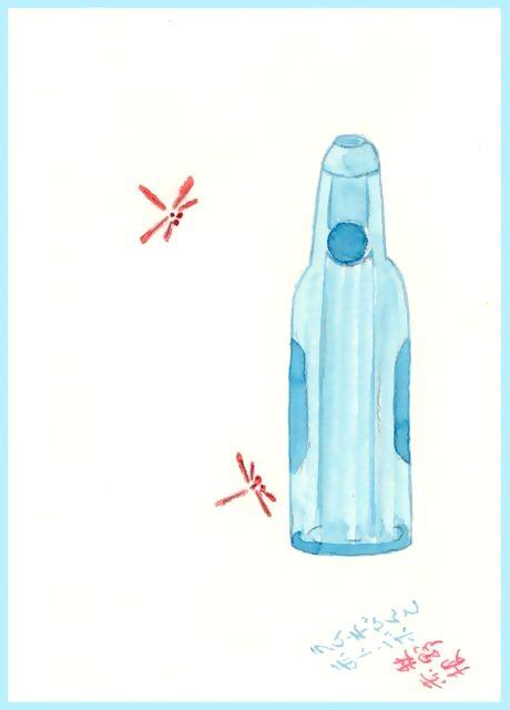 童画作家 秋野赤根のセンチメンタル・ロマン遠い日の情景 「ラムネびんと赤トンボ」