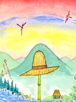 童画作家・秋野赤根のセンチメンタル・ロマン遠い日の情景「麦わら帽子と赤とんぼ」