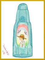 童画作家 秋野赤根のセンチメンタル・ロマン遠い日の情景「びんの中の郷愁」