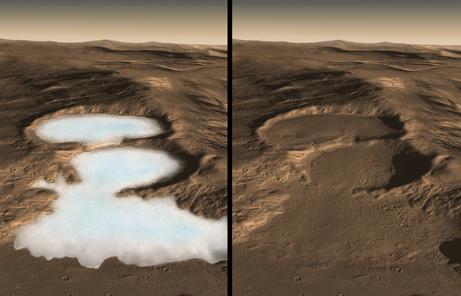 火星で地下氷河を発見、氷河期の名残か