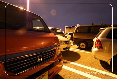 ディズニーランドの駐車場。
