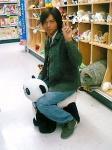 パンダに騎乗
